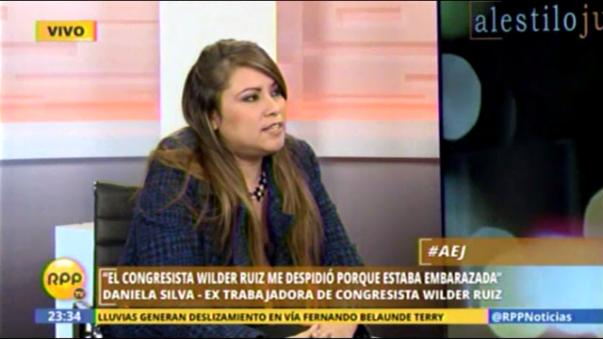 Daniela Silva, extrabajadora del congresista Wilder Ruiz, lamentó que el Congreso desestimara el pedido de la Comisión de Ética, de suspender a su exempleador por haberla despedido cuando estaba embarazada.