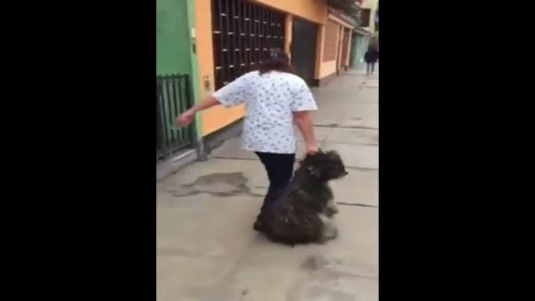 El perro fue arrastrado por la vereda en la cuadra 26 de la avenida Circunvalación en San Luis.