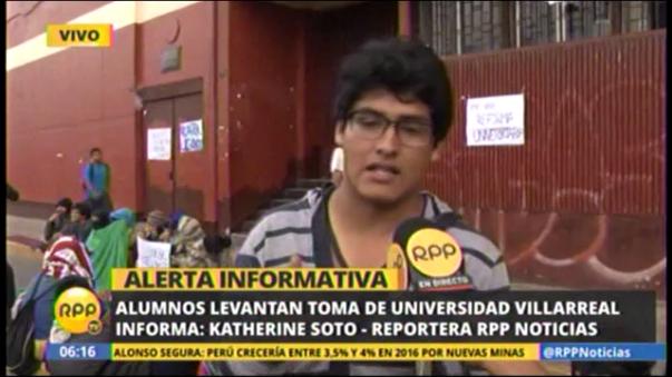 Alumnos abandonaron medida de fuerza en Universidad Villarreal