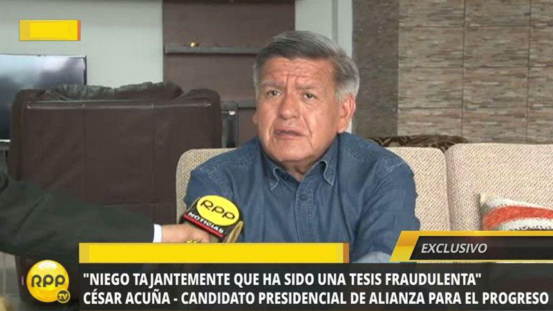 Acuña habló en exclusiva con RPP Noticias.