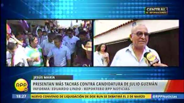 Ciudadanos presentan tacha contra Julio Guzmán