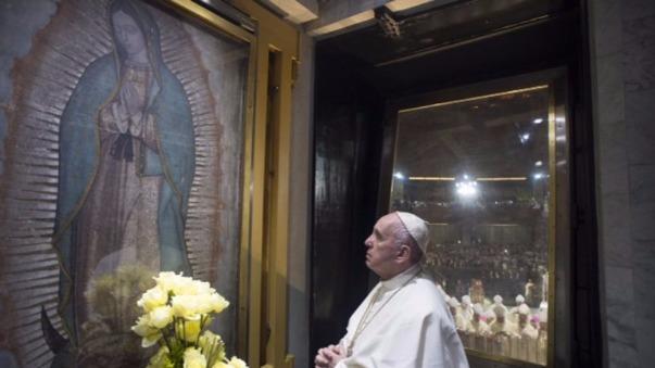 Francisco rezándole a la Guadalupana