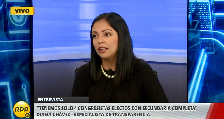 La especialista de Transparencia, Diana Chávez, dio detalles de la nueva composición del Congreso.