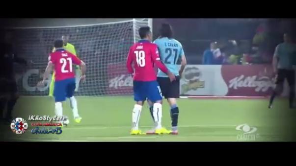 Gonzalo Jara y su agresión a Edinson Cavani en la Copa América Chile 2015.