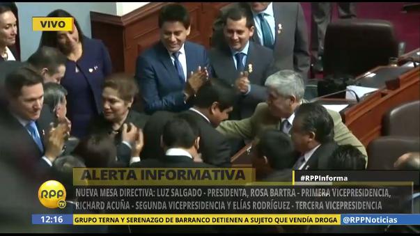 Con 87 votos a favor la lista que encabeza la congresista de Fuerza Popular Luz Salgado ganó la elección para elegir a la Mesa Directiva del nuevo Congreso de la República para el período 2016-2017.