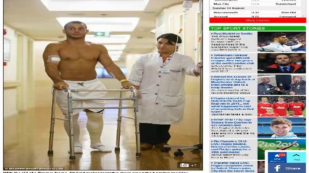 El gimnasta Samir Aït Said luego de haber pasado con éxito una intervención quirúrgica, necesitará de rehabilitación y, según estima él médico deportivo Julio Grados, él podría estar apto en no más de 6 meses.