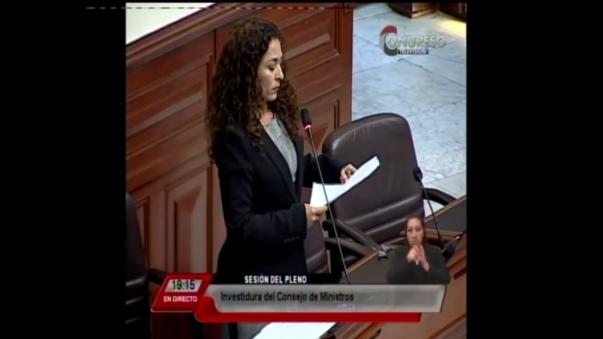Presentación de la congresista Chacón en el Congreso por el tema de investidura del nuevo gabinete