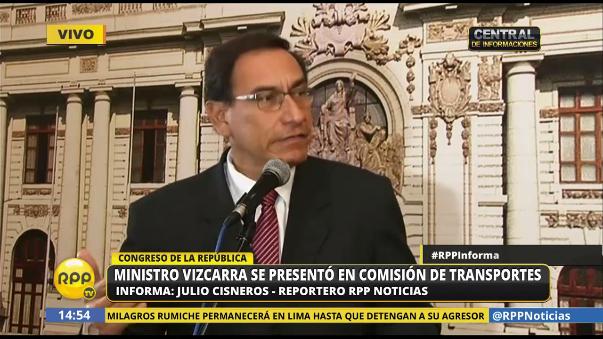 Martín Vizcarra se presentó ante la comisión de Transportes del Congreso.