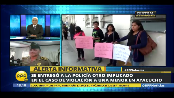 El jefe de la región policial Ayacucho, general Roger Tello, informó que se entregó a las autoridades otro menor involucrado en la violación grupal de una adolescente, que posteriormente falleció producto de las lesiones recibidas.