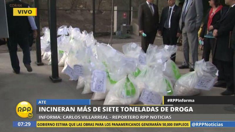 En el acto, se incineraron 2,844 kilos de PBC, 3,571 kilos de clorhidrato de cocaína, 1,341 kilos de marihuana, 5 kilos de látex de opio, y un kilo de amapola.