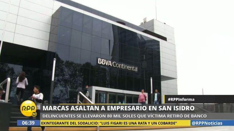 El asalto ocurrió a pocos metros de esta agencia bancaria, en San Isidro.