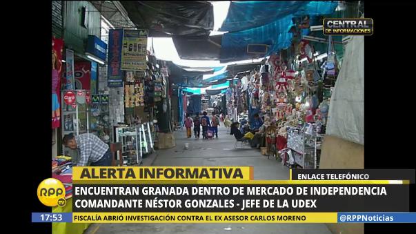 """El material explosivo fue hallado en el mercado """"El Ermitaño""""."""