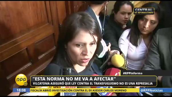 La legisladora Yeni Vilcatoma dijo que la norma no la va a afectar.