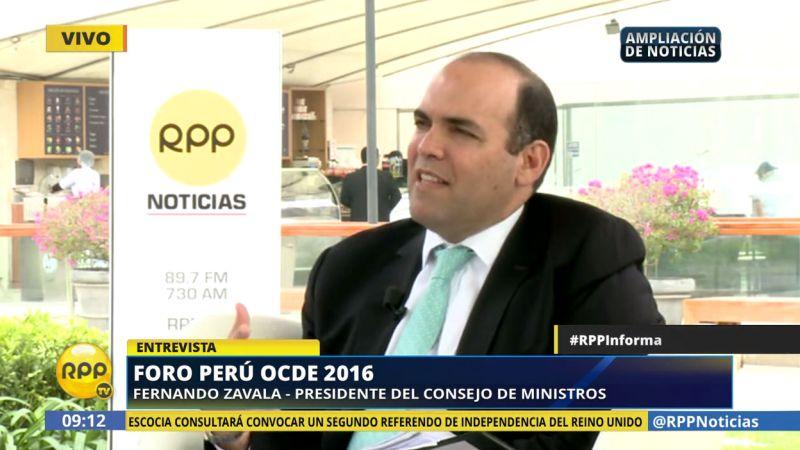 El presidente del Consejo de Ministros, Fernando Zavala, expresó hoy su optimismo por ingresar a la OCDE hacia el 2021.