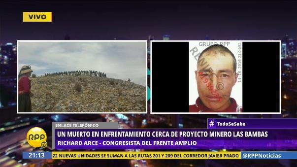 El congresista de Apurímac Richard Arce dijo que recibió información del enfrentamiento pasada las 4 de la tarde.