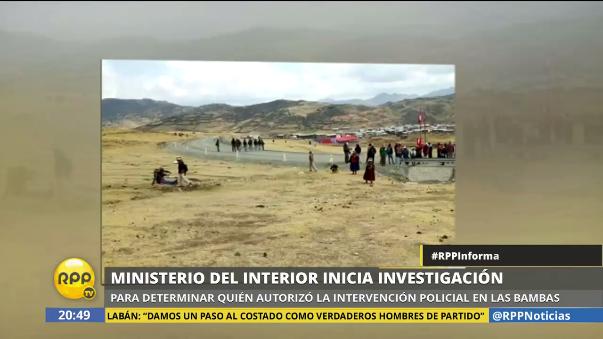 Ministerio del Interior realiza investigaciones sobre enfrentamientos en Apurímac que dejó un muerto.