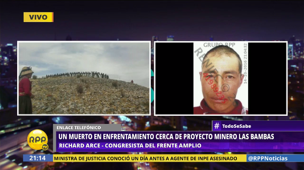 El congresista de Apurímac Richard Arce dijo que recibió información del enfrentamiento pasada las 4 de la tarde del viernes.