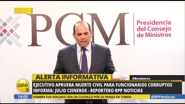 Fernando Zavala anunció las medidas para que los funcionarios corruptos no puedan volver al Estado.