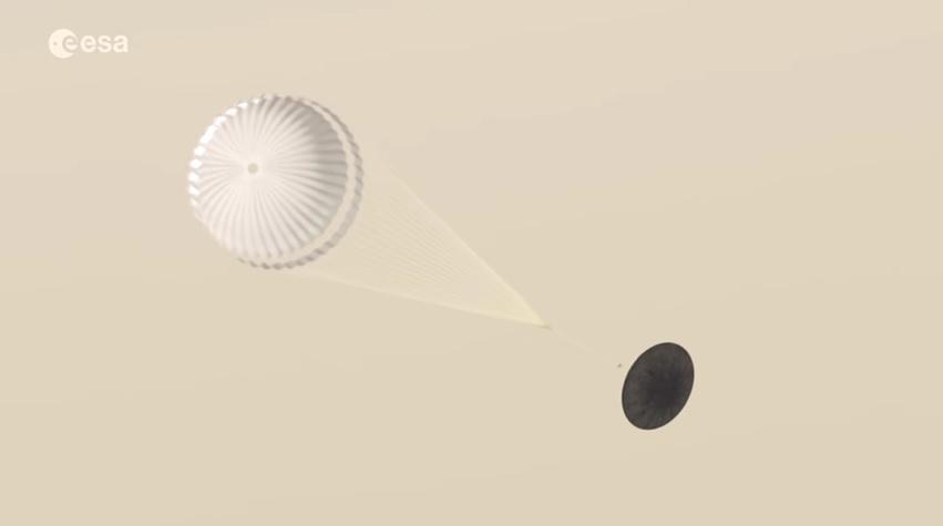 Una simulación del complicado aterrizaje en Marte del módulo Schiaparelli, que entró a la atmósfera del planeta rojo a una velocidad de 21 mil km/h. El aterrizaje estaba previsto para las 9.42 de la mañana; sin embargo, aún no ha podido confirmar el aterrizaje.