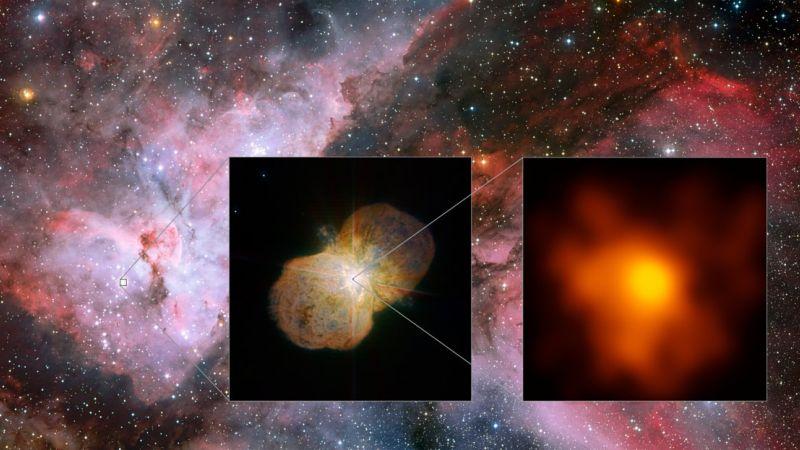 La nueva imagen obtenida por el VLTI muestra una impensada estructura en forma de abanico donde el viento de la estrella más pequeña y caliente choca con el viento más denso de la estrella más grande de la pareja.