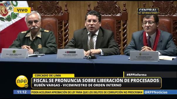 El viceministro del Interior, Rubén Vargas, cuestionó la decisión del juez Felipe Orozco, quien liberó a 27 delincuentes que integraban la banda 'Los monos de Quepepampa'.