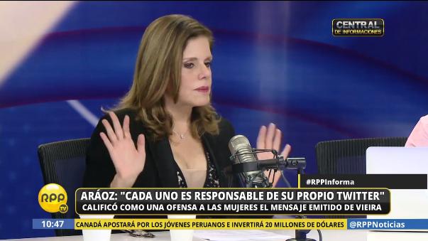 Mercedes Aráoz disculpó al congresista Roberto Vieira, quien la llamó 'cortesana todopoderosa' en Twitter.