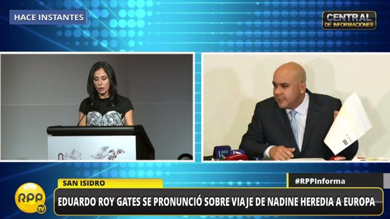 Eduardo Roy Gates se pronunció sobre viaje de Nadine Heredia.