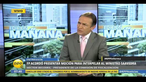 "Becerril: ""Después de escuchar a Saavedra, decidiremos si hay censura""."