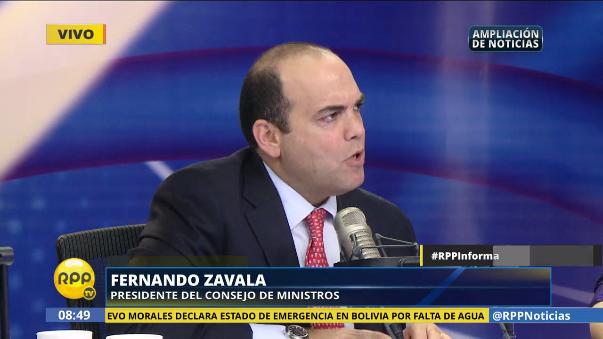 El primer ministro Fernando Zavala calificó de