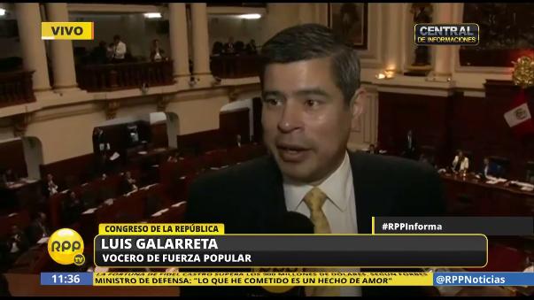Para el fujimorista Luis Galarreta, el Gobierno es el único que sabe si Nadine Heredia retornará al país.