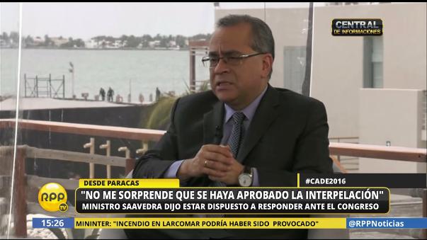El ministro Saavedra se enteró de la interpelación cuando daba una charla en CADE 2016.