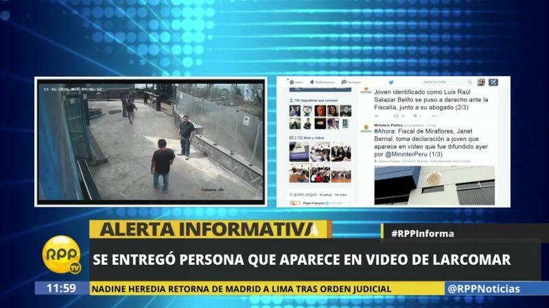 El Ministerio Público informó que Luis Raúl Salazar Belito rindió su manifestación en la Fiscalía de Miraflores.