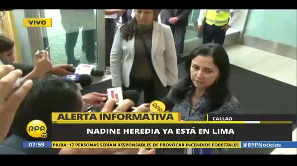"""Nadine Heredia regresó a Lima: """"Yo no me estoy fugando"""""""