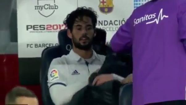 La furia de Isco tras ser sustituido ante Barcelona