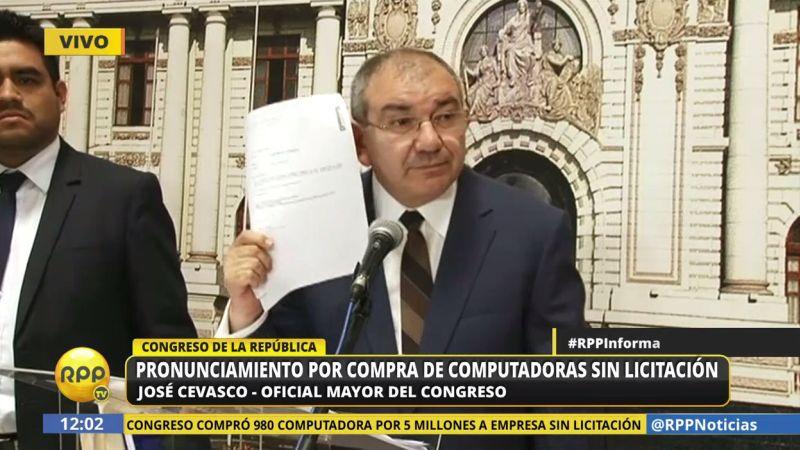 José Cevasco brindó una conferencia de prensa para responder sobre la nueva denuncia contra el Legislativo.