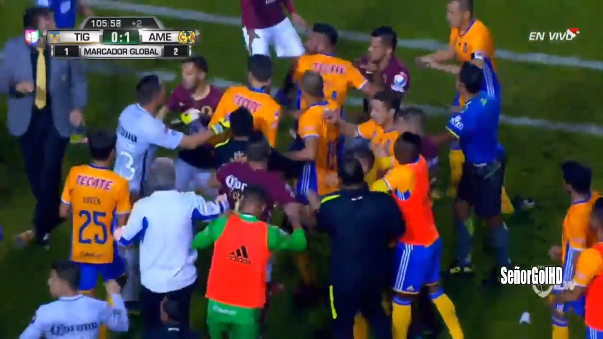 Así se desarrolló la pelea de los jugadores en plena final mexicana.
