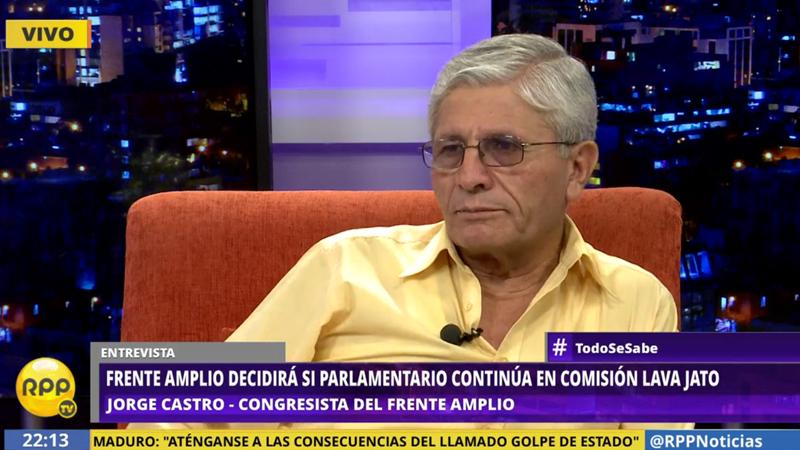 Frente Amplio decidirá si parlamentario Jorge Castro continúa en Comisión Lava Jato.