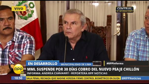 Luis Castañeda, alcalde de Lima, en conferencia de prensa junto a burgomaestres de Ancón, Comas y Puente Piedra.