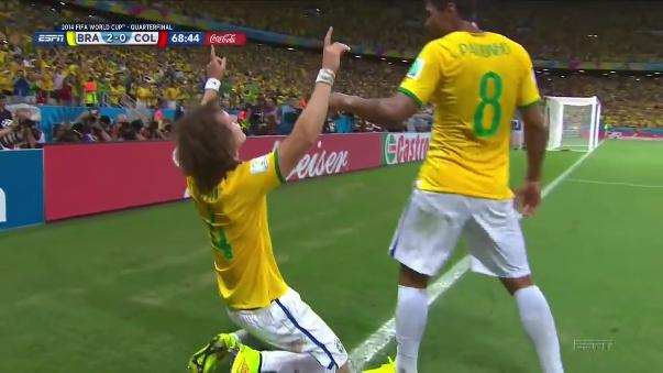 David Luiz anotó este golazo en el Mundial Brasil 2014 ante Colombia.