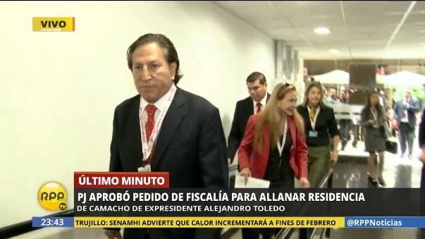 Así informó RPP Noticias sobre el allanamiento de la casa de Alejandro Toledo.
