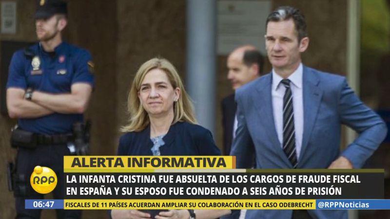 La infanta Cristina, hermana del rey Felipe VI, fue sentenciada a pagar junto a su esposo 265.000 euros.