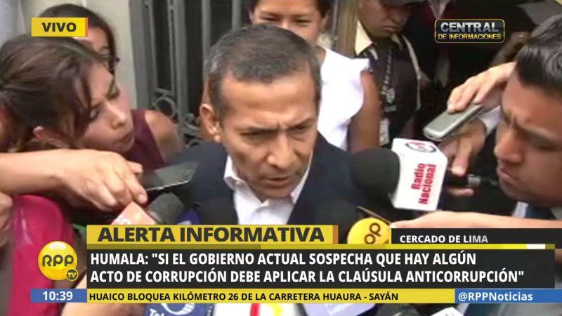 """Ollanta Humala respondió a Alan García, quien ayer pidió que no lo metan """"en la pandilla de los expresidentes""""."""
