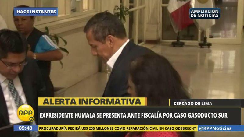 Humala Tasso se presentó esta mañana en el despacho del fiscal Reynaldo Abia, pero la diligencia no se pudo llevar a cabo por temas administrativo.