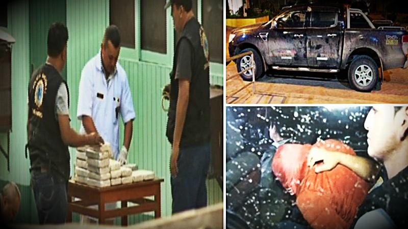 En total la Policía encontró 93 paquetes con aproximadamente 102 kilos de cocaína de alta pureza ocultos en la parte posterior de una de las camionetas donde iban los 6 sujetos.
