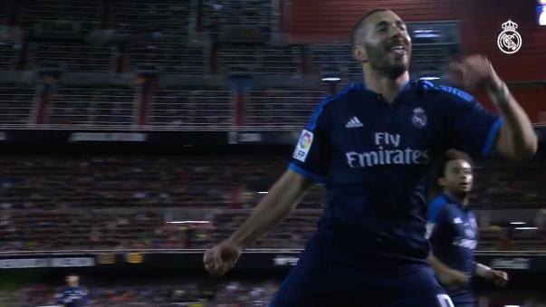 Real Madrid publicó este video con un golazo de Karim Benzema al Valencia para calentar la previa del compromiso.