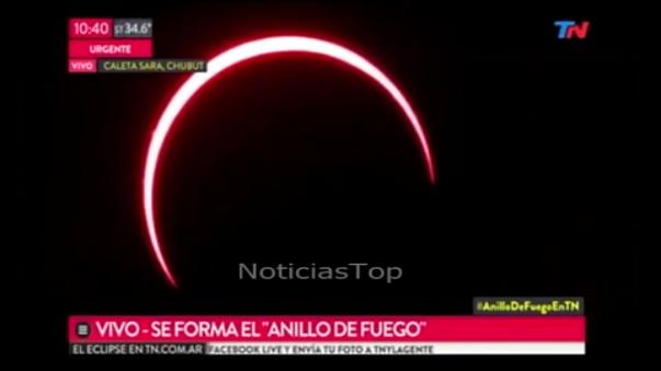 Así se vio el eclipse en Argentina.