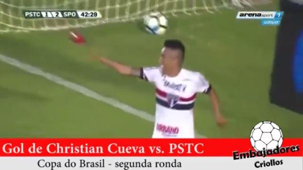Christian Cueva anotó su primer gol en la Copa de Brasil.