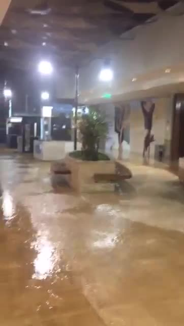 Un centro comercial también se inundó por las intensas lluvias.