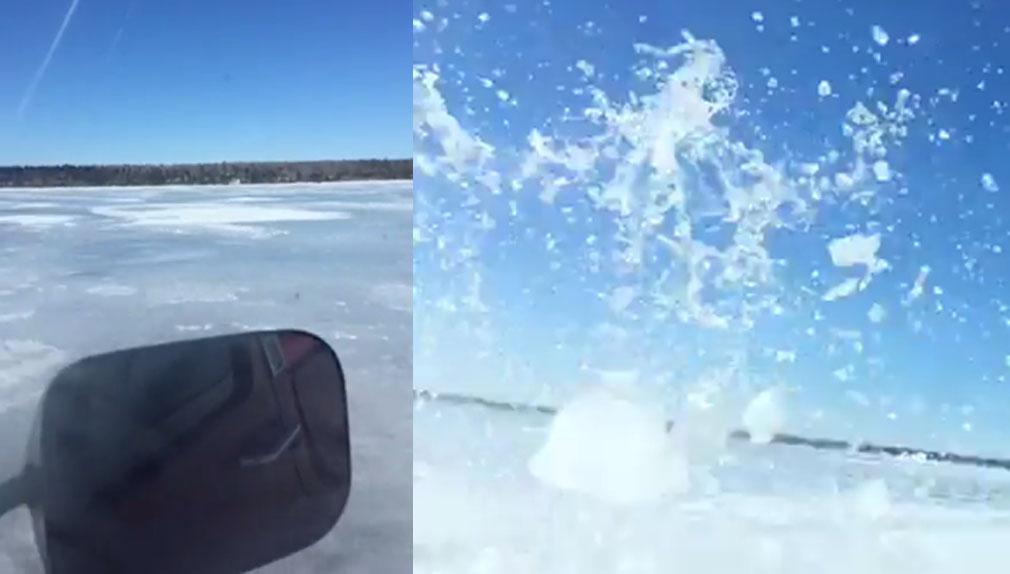 Según la ocupante del vehículo, la capa de hielo tenía un espesor de casi un metro.