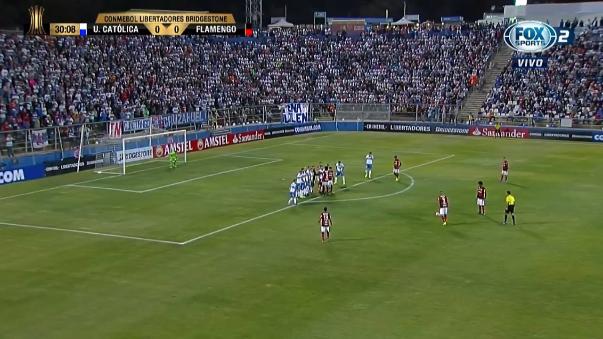 Christofer Tosseli sacó una mano notable para evitar el gol del peruano.